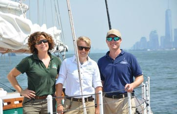 Captain and Crew on the Schooner America 2.0 in NY Harbor