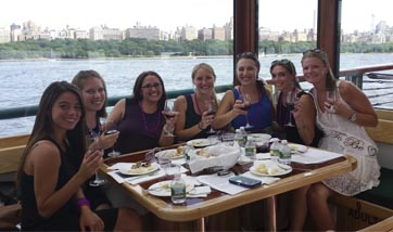 Bachellorette Wine Tasting Party on a boat in NY Harbor NYC