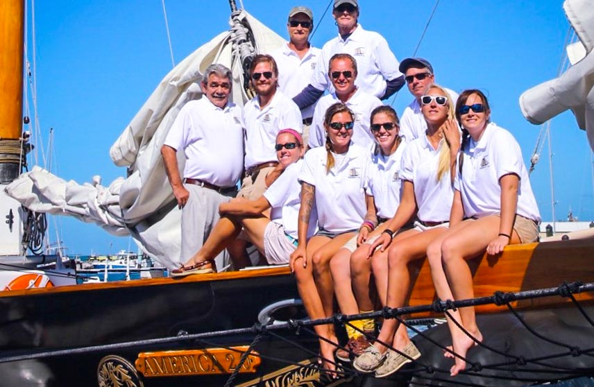 Classic Harbor Line Key West Crew aboard the Schooner America 2.0