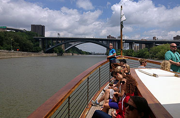 Bow of Manhattan with private Architectural Boat Tour customers