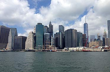 Private architecture boat ride with south street sea port NYC in the background