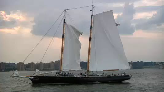 Harbor schooner sets sail