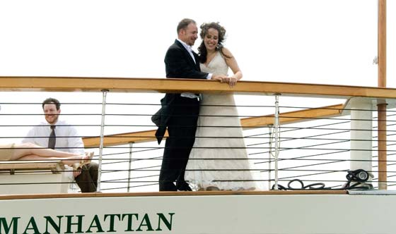 Bride and Groom Wedding on a yacht in NY Harbor, NYC