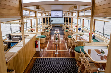 Event space on a classic yacht for company meetings